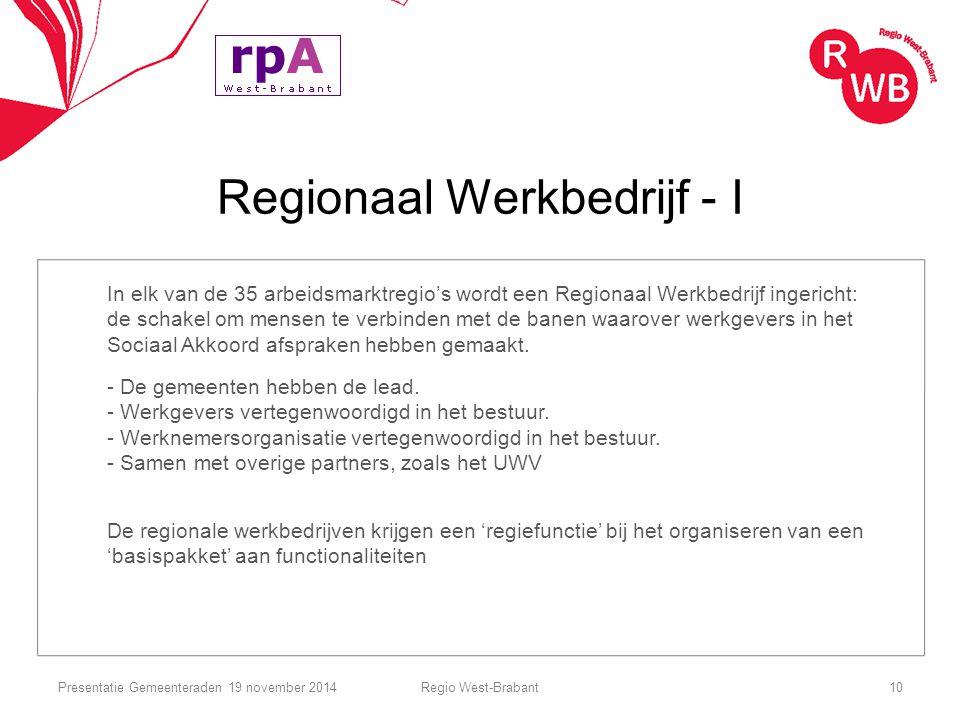 Regionaal Werkbedrijf - I In elk van de 35 arbeidsmarktregio's wordt een Regionaal Werkbedrijf ingericht: de schakel om mensen te verbinden met de ban