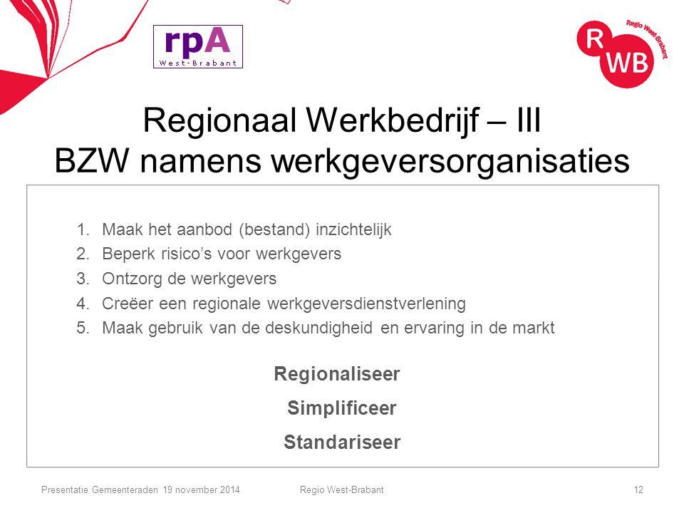 Regionaal Werkbedrijf – III BZW namens werkgeversorganisaties 1.Maak het aanbod (bestand) inzichtelijk 2.Beperk risico's voor werkgevers 3.Ontzorg de