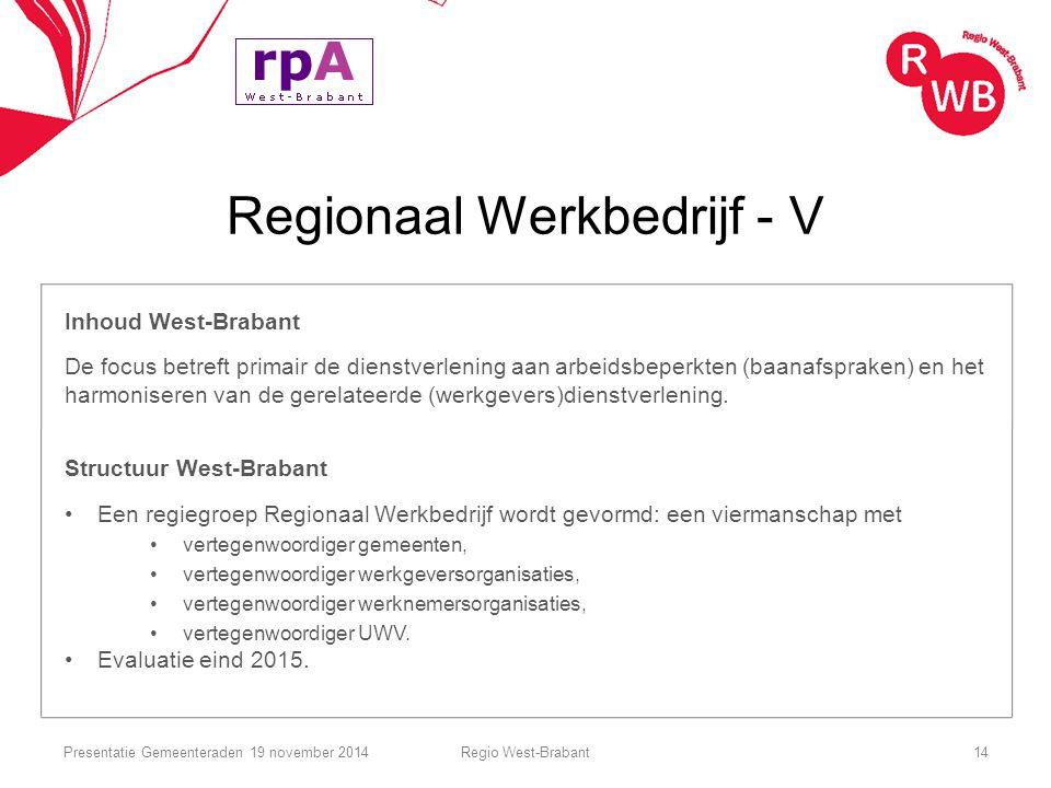 Regionaal Werkbedrijf - V Inhoud West-Brabant De focus betreft primair de dienstverlening aan arbeidsbeperkten (baanafspraken) en het harmoniseren van