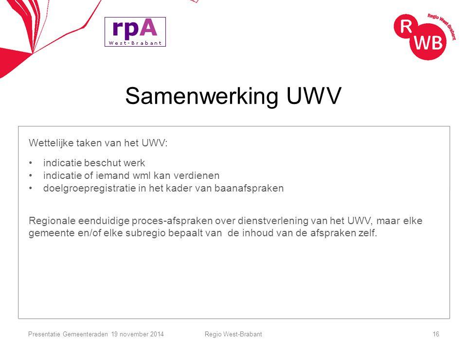 Samenwerking UWV Wettelijke taken van het UWV: indicatie beschut werk indicatie of iemand wml kan verdienen doelgroepregistratie in het kader van baan