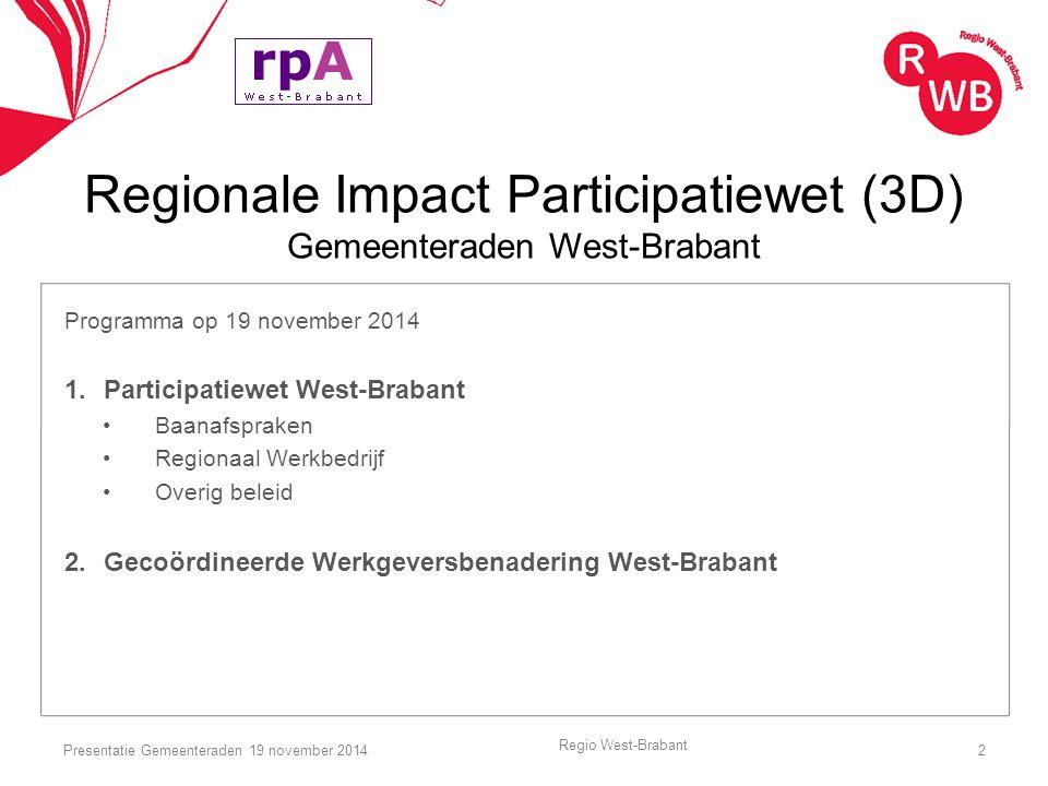 Regionale Impact Participatiewet (3D) Gemeenteraden West-Brabant Programma op 19 november 2014 1.Participatiewet West-Brabant Baanafspraken Regionaal