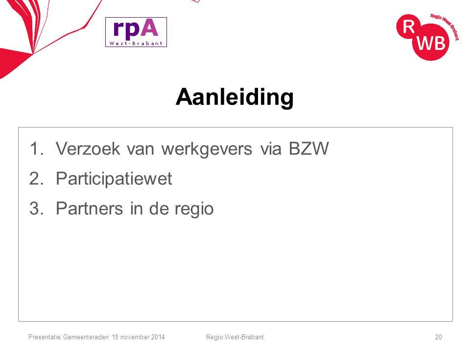 Aanleiding 1.Verzoek van werkgevers via BZW 2.Participatiewet 3.Partners in de regio Regio West-Brabant20Presentatie Gemeenteraden 19 november 2014