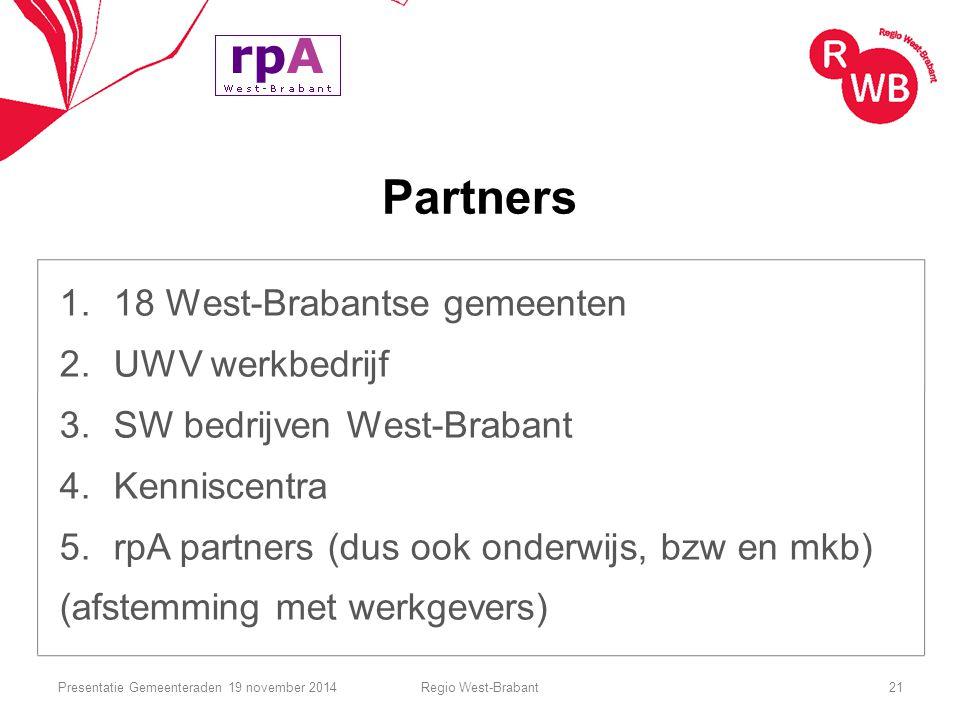 Partners 1.18 West-Brabantse gemeenten 2.UWV werkbedrijf 3.SW bedrijven West-Brabant 4.Kenniscentra 5.rpA partners (dus ook onderwijs, bzw en mkb) (af