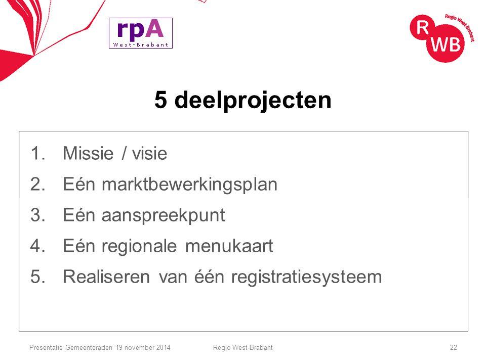 5 deelprojecten 1. Missie / visie 2. Eén marktbewerkingsplan 3. Eén aanspreekpunt 4. Eén regionale menukaart 5. Realiseren van één registratiesysteem