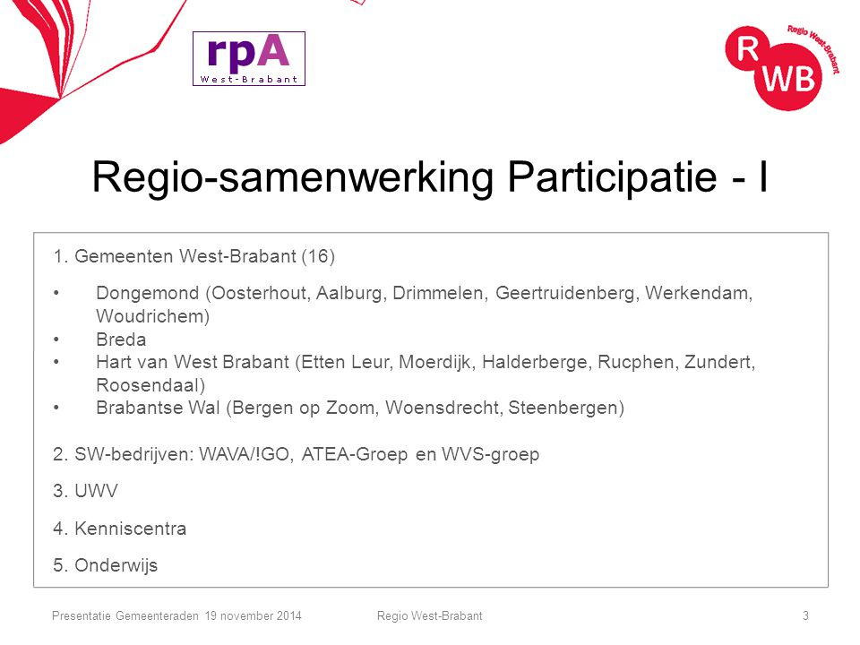 Regio-samenwerking Participatie - I 1. Gemeenten West-Brabant (16) Dongemond (Oosterhout, Aalburg, Drimmelen, Geertruidenberg, Werkendam, Woudrichem)