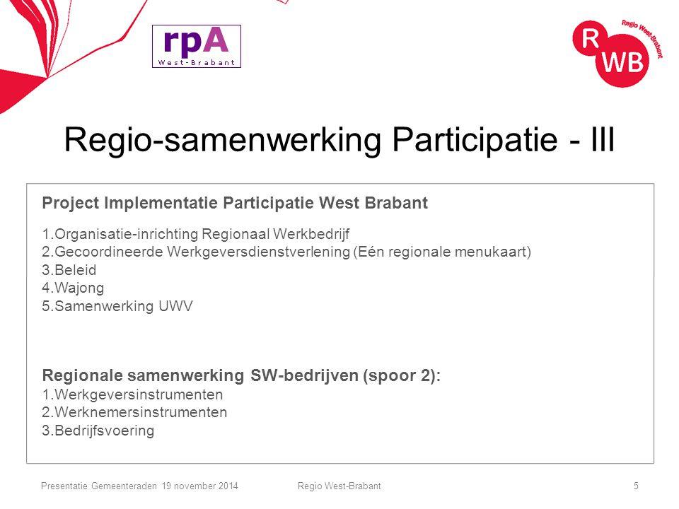 Regio-samenwerking Participatie - III Project Implementatie Participatie West Brabant 1.Organisatie-inrichting Regionaal Werkbedrijf 2.Gecoordineerde