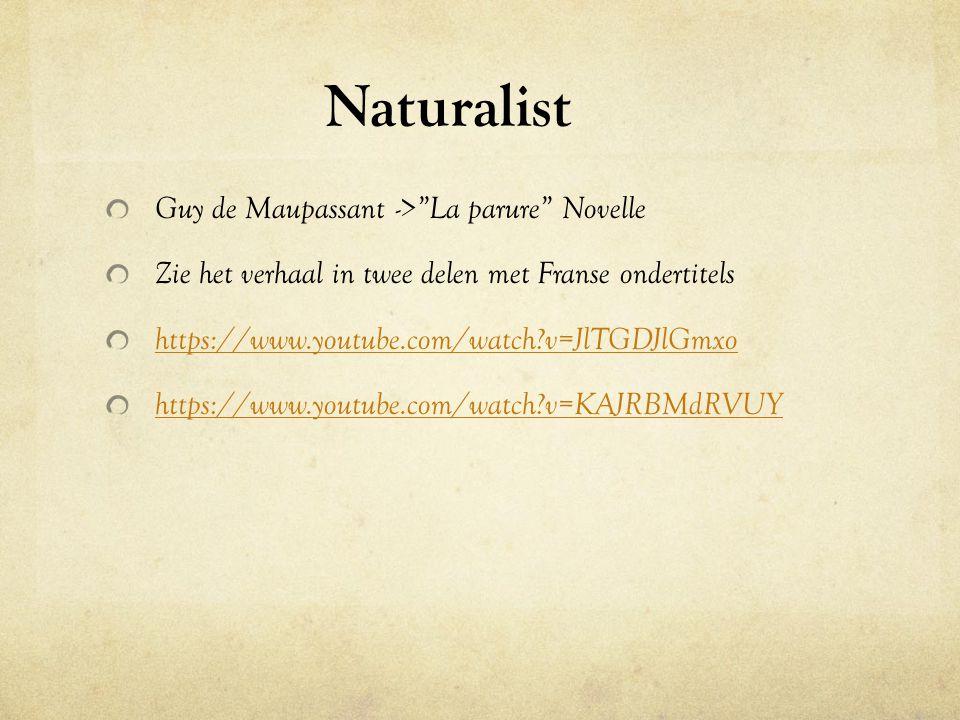 """Naturalist Guy de Maupassant ->""""La parure"""" Novelle Zie het verhaal in twee delen met Franse ondertitels https://www.youtube.com/watch?v=JlTGDJlGmxo ht"""