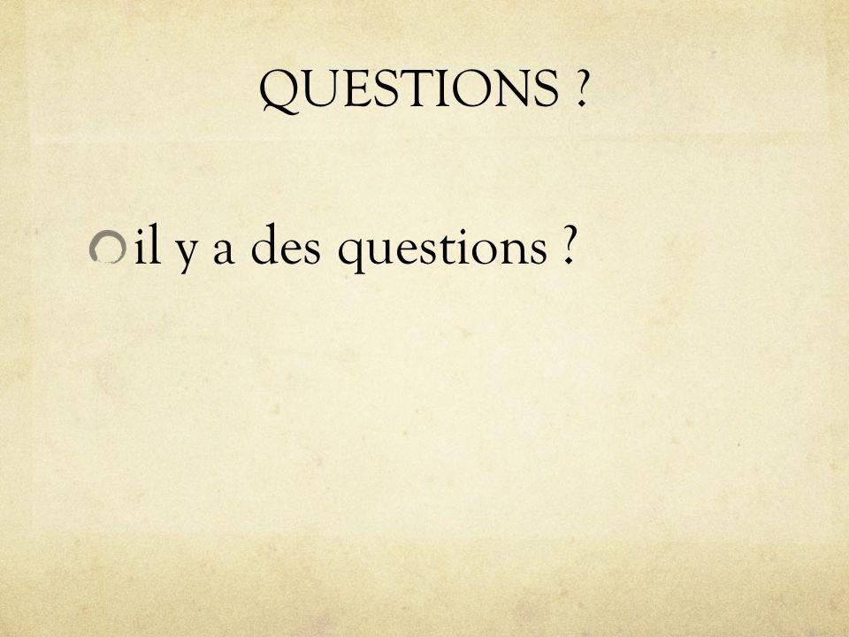 QUESTIONS ? il y a des questions ?