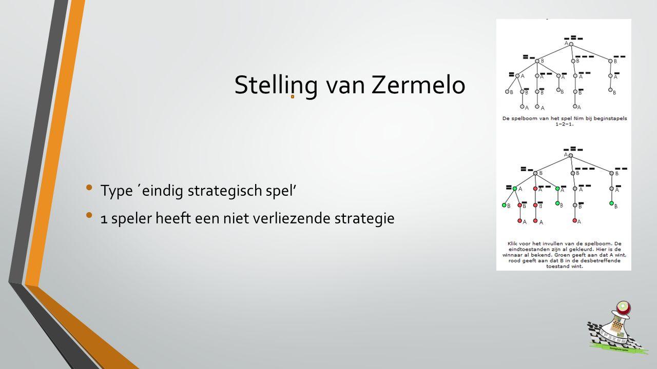 Stelling van Zermelo Type ´eindig strategisch spel' 1 speler heeft een niet verliezende strategie
