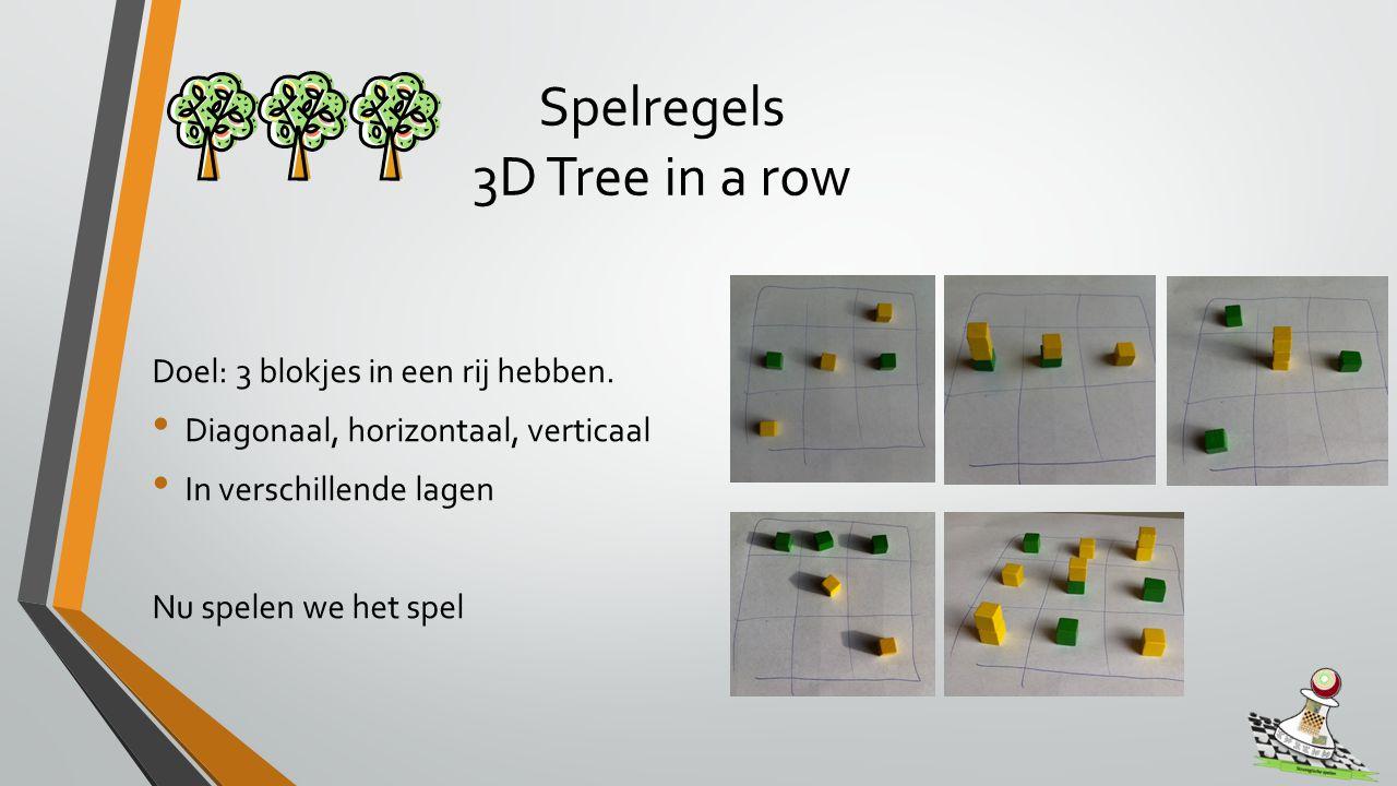 Spelregels 3D Tree in a row Doel: 3 blokjes in een rij hebben.
