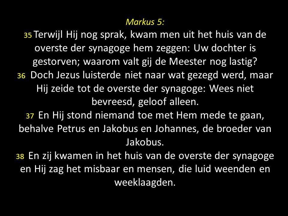 Markus 5: 35 Terwijl Hij nog sprak, kwam men uit het huis van de overste der synagoge hem zeggen: Uw dochter is gestorven; waarom valt gij de Meester