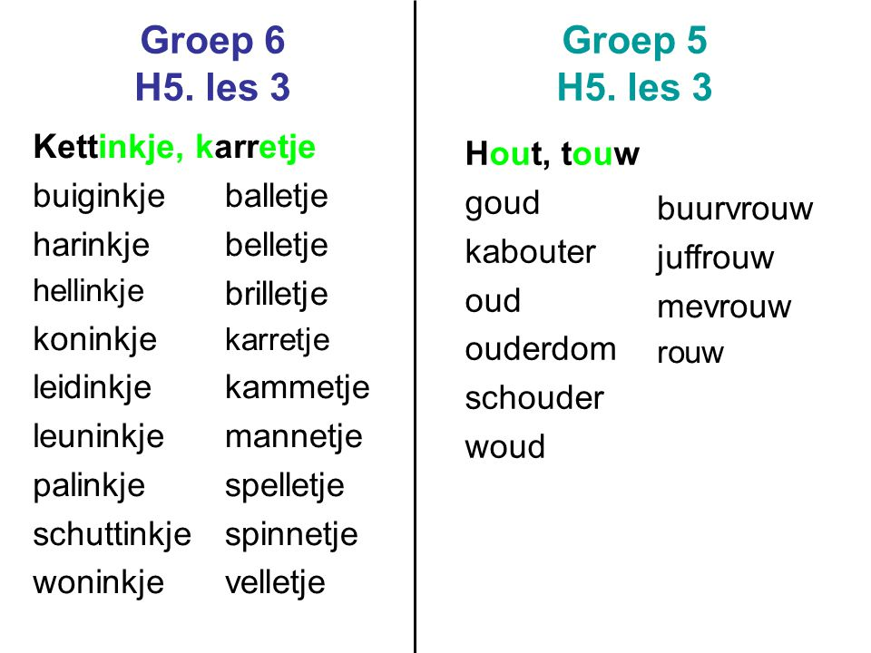 Groep 6 H5.les 3 Groep 5 H5.