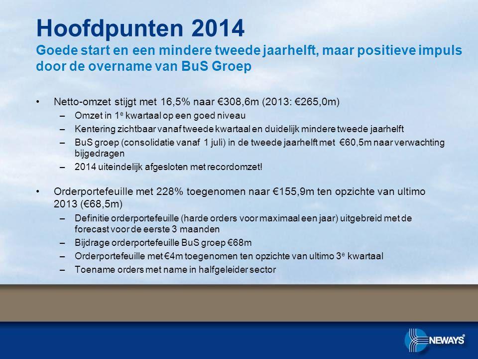 Netto-omzet stijgt met 16,5% naar €308,6m (2013: €265,0m) –Omzet in 1 e kwartaal op een goed niveau –Kentering zichtbaar vanaf tweede kwartaal en duidelijk mindere tweede jaarhelft –BuS groep (consolidatie vanaf 1 juli) in de tweede jaarhelft met €60,5m naar verwachting bijgedragen –2014 uiteindelijk afgesloten met recordomzet.