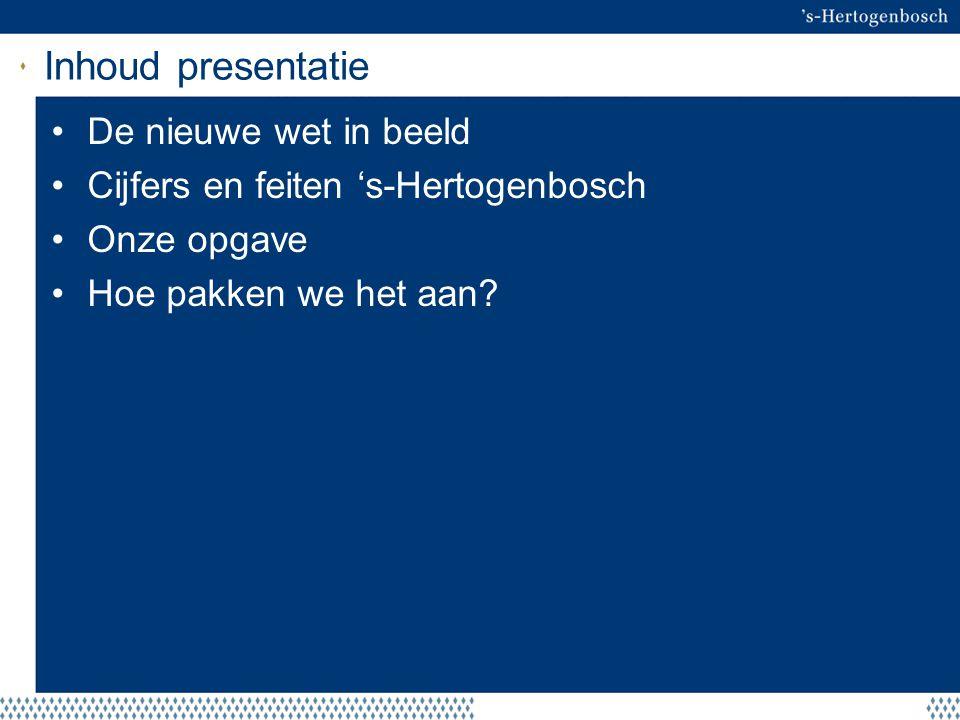 Inhoud presentatie De nieuwe wet in beeld Cijfers en feiten 's-Hertogenbosch Onze opgave Hoe pakken we het aan?