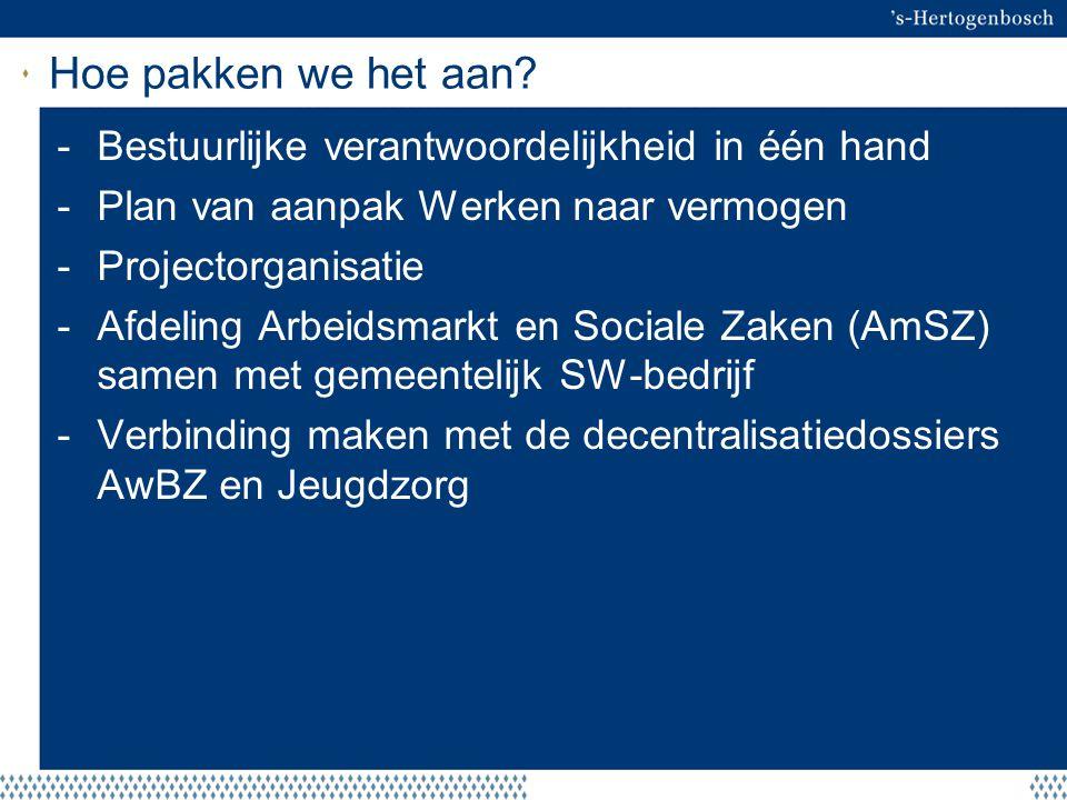 Hoe pakken we het aan? -Bestuurlijke verantwoordelijkheid in één hand -Plan van aanpak Werken naar vermogen -Projectorganisatie -Afdeling Arbeidsmarkt