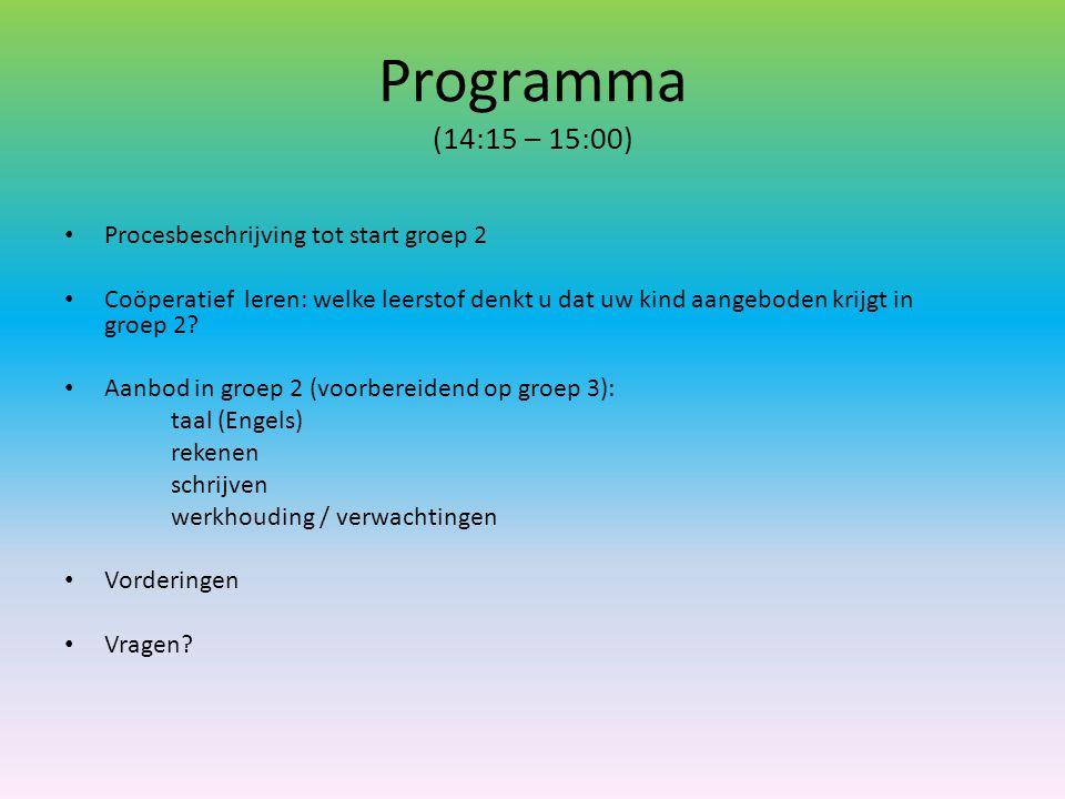 Programma (14:15 – 15:00) Procesbeschrijving tot start groep 2 Coöperatief leren: welke leerstof denkt u dat uw kind aangeboden krijgt in groep 2? Aan