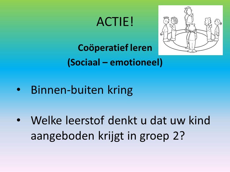 ACTIE! Coöperatief leren (Sociaal – emotioneel) Binnen-buiten kring Welke leerstof denkt u dat uw kind aangeboden krijgt in groep 2?