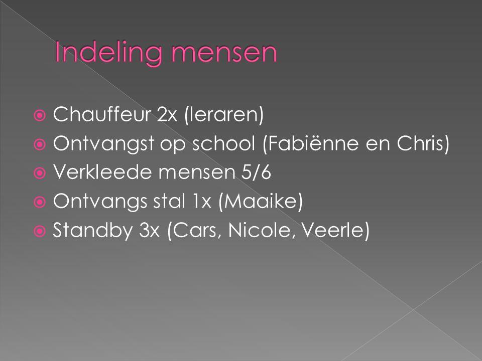  Chauffeur 2x (leraren)  Ontvangst op school (Fabiënne en Chris)  Verkleede mensen 5/6  Ontvangs stal 1x (Maaike)  Standby 3x (Cars, Nicole, Veerle)