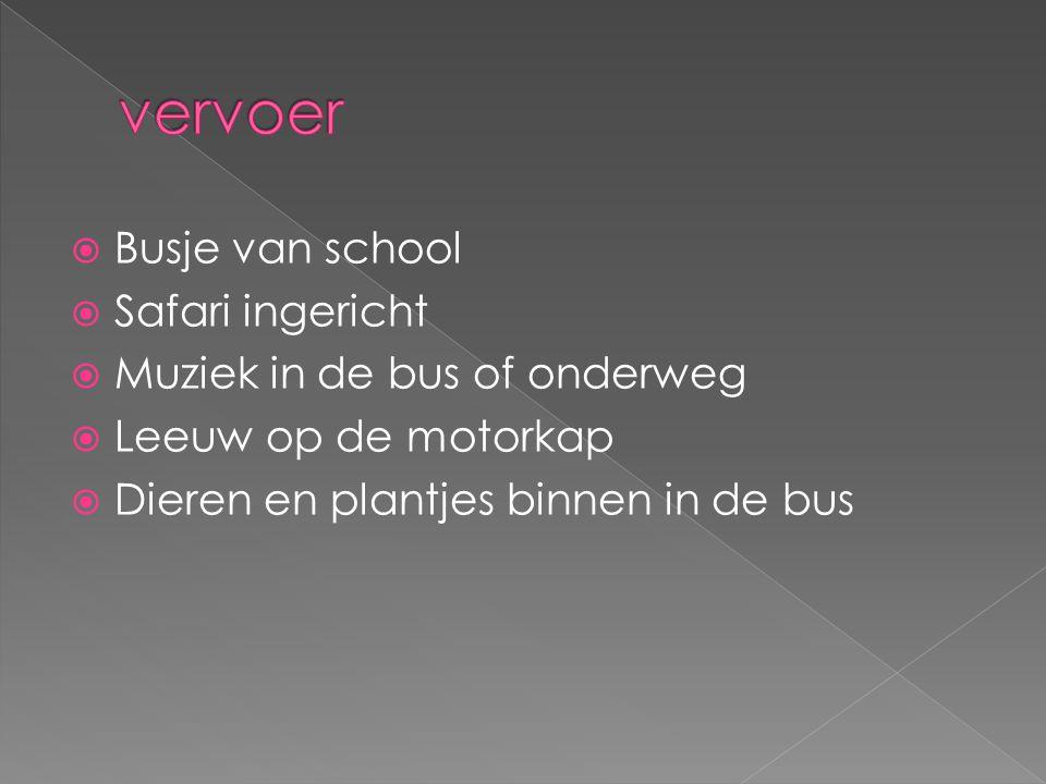  Busje van school  Safari ingericht  Muziek in de bus of onderweg  Leeuw op de motorkap  Dieren en plantjes binnen in de bus