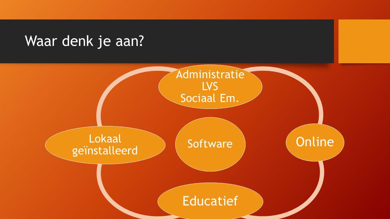 Waar denk je aan? Software Administratie LVS Sociaal Em. OnlineEducatief Lokaal geïnstalleerd