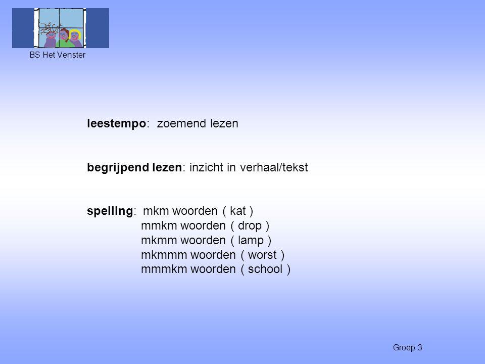 Groep 3 leestempo: zoemend lezen begrijpend lezen: inzicht in verhaal/tekst spelling: mkm woorden ( kat ) mmkm woorden ( drop ) mkmm woorden ( lamp )