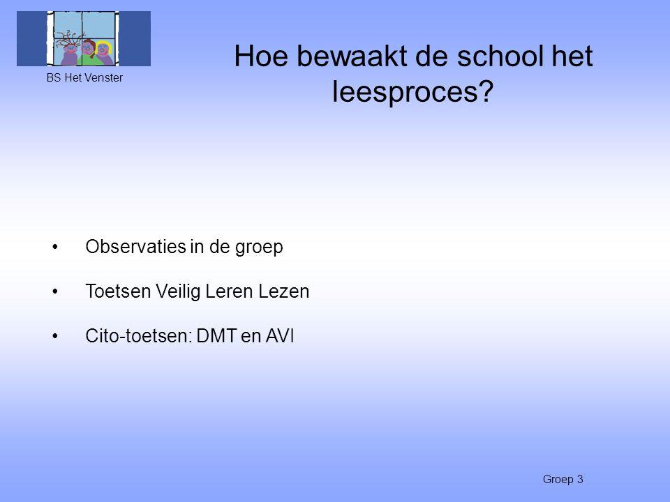 Hoe bewaakt de school het leesproces? BS Het Venster Groep 3 Observaties in de groep Toetsen Veilig Leren Lezen Cito-toetsen: DMT en AVI