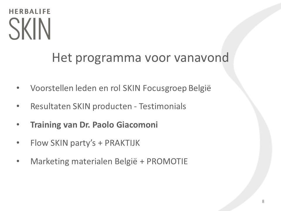 Voorstellen leden en rol SKIN Focusgroep België Resultaten SKIN producten - Testimonials Training van Dr. Paolo Giacomoni Flow SKIN party's + PRAKTIJK