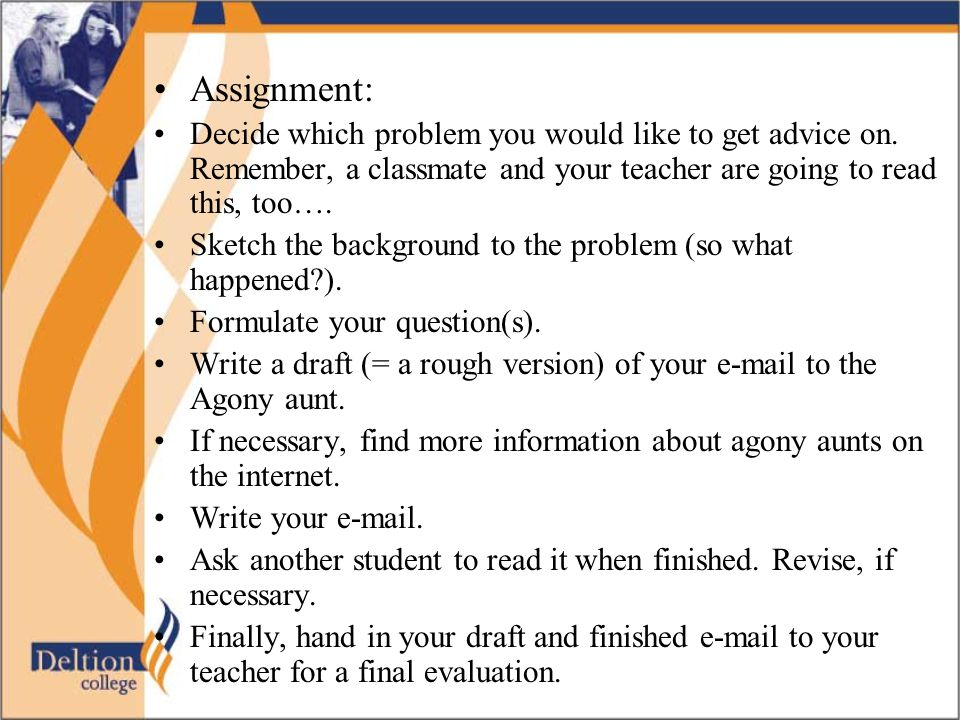 Assignment for 1 student no teamwork no roleplay Tip: practise with telling something that happened in the past: go to the next pages!