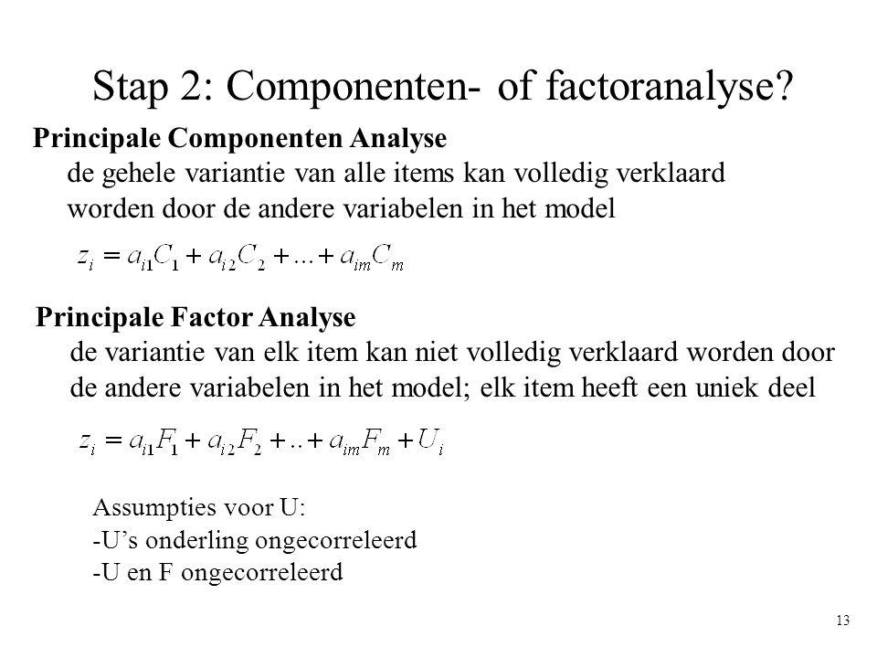 13 Stap 2: Componenten- of factoranalyse? Assumpties voor U: -U's onderling ongecorreleerd -U en F ongecorreleerd Principale Componenten Analyse de ge