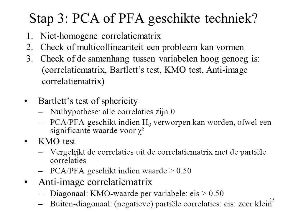 15 Stap 3: PCA of PFA geschikte techniek? Bartlett's test of sphericity –Nulhypothese: alle correlaties zijn 0 –PCA/PFA geschikt indien H 0 verworpen