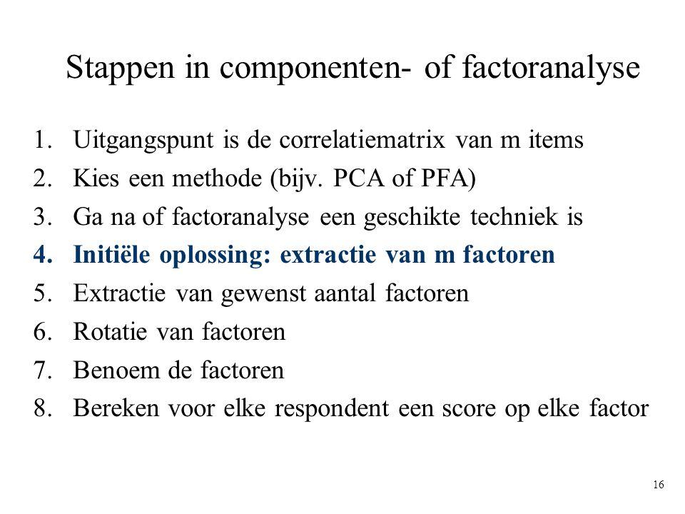 16 Stappen in componenten- of factoranalyse 1.Uitgangspunt is de correlatiematrix van m items 2.Kies een methode (bijv. PCA of PFA) 3.Ga na of factora