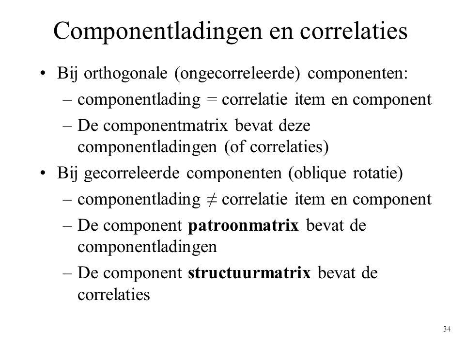 34 Componentladingen en correlaties Bij orthogonale (ongecorreleerde) componenten: –componentlading = correlatie item en component –De componentmatrix