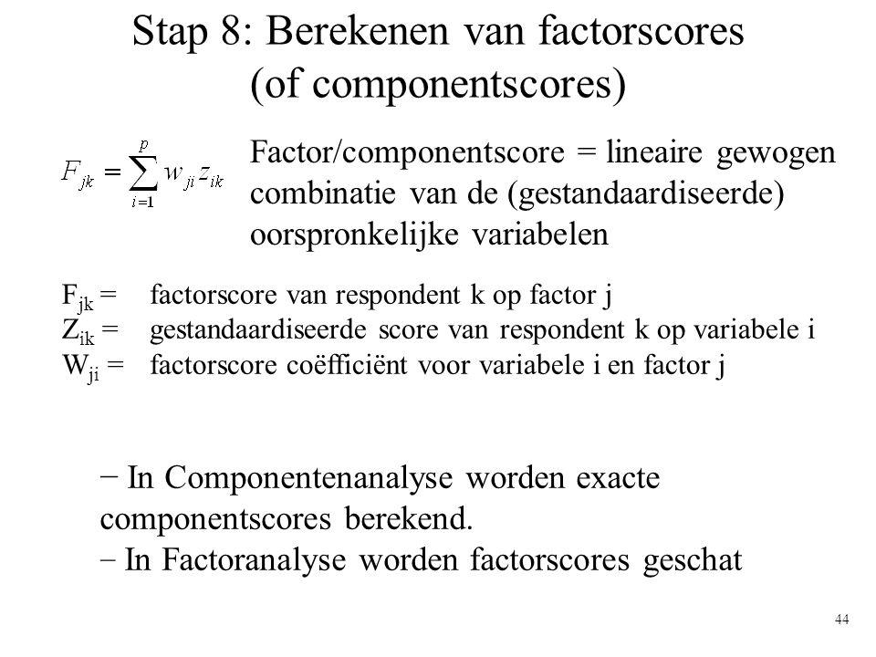 44 Stap 8: Berekenen van factorscores (of componentscores) F jk = factorscore van respondent k op factor j Z ik = gestandaardiseerde score van respond