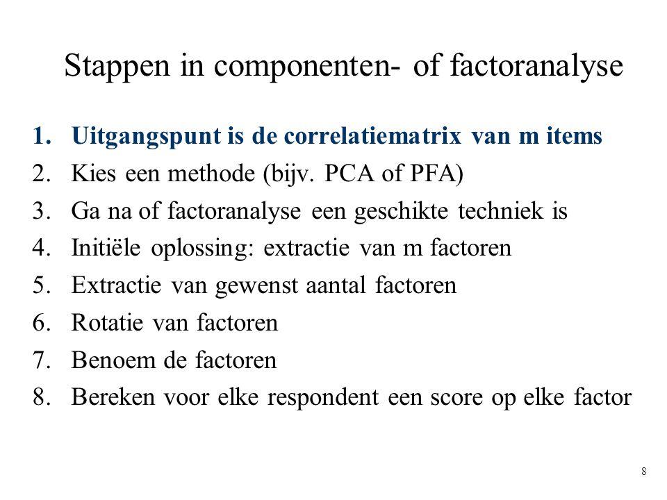 8 Stappen in componenten- of factoranalyse 1.Uitgangspunt is de correlatiematrix van m items 2.Kies een methode (bijv. PCA of PFA) 3.Ga na of factoran