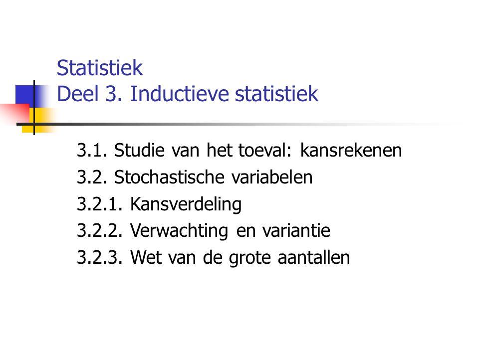 Statistiek Deel 3. Inductieve statistiek 3.1. Studie van het toeval: kansrekenen 3.2. Stochastische variabelen 3.2.1. Kansverdeling 3.2.2. Verwachting