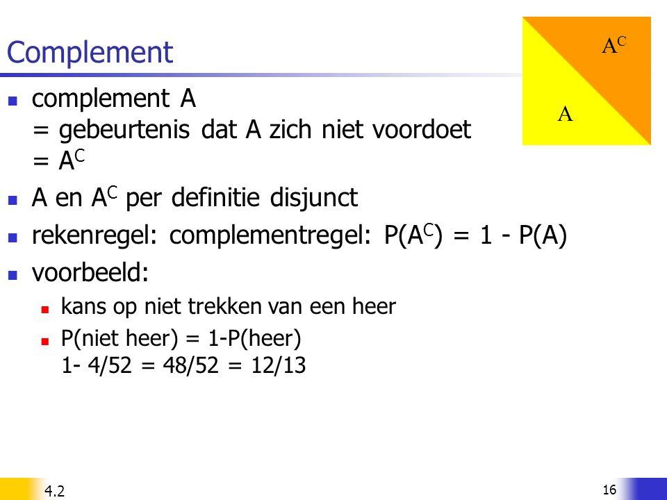 16 Complement complement A = gebeurtenis dat A zich niet voordoet = A C A en A C per definitie disjunct rekenregel: complementregel: P(A C ) = 1 - P(A