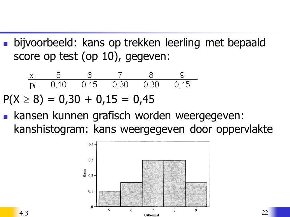 22 bijvoorbeeld: kans op trekken leerling met bepaald score op test (op 10), gegeven: P(X  8) = 0,30 + 0,15 = 0,45 kansen kunnen grafisch worden weer
