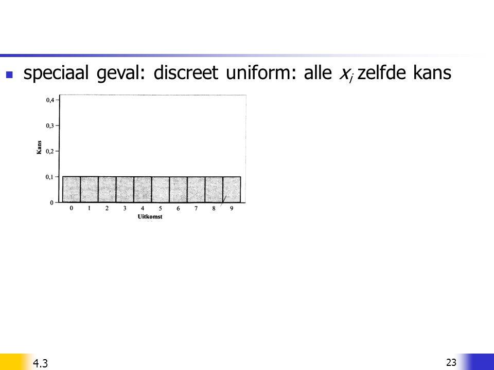 23 speciaal geval: discreet uniform: alle x i zelfde kans 4.3