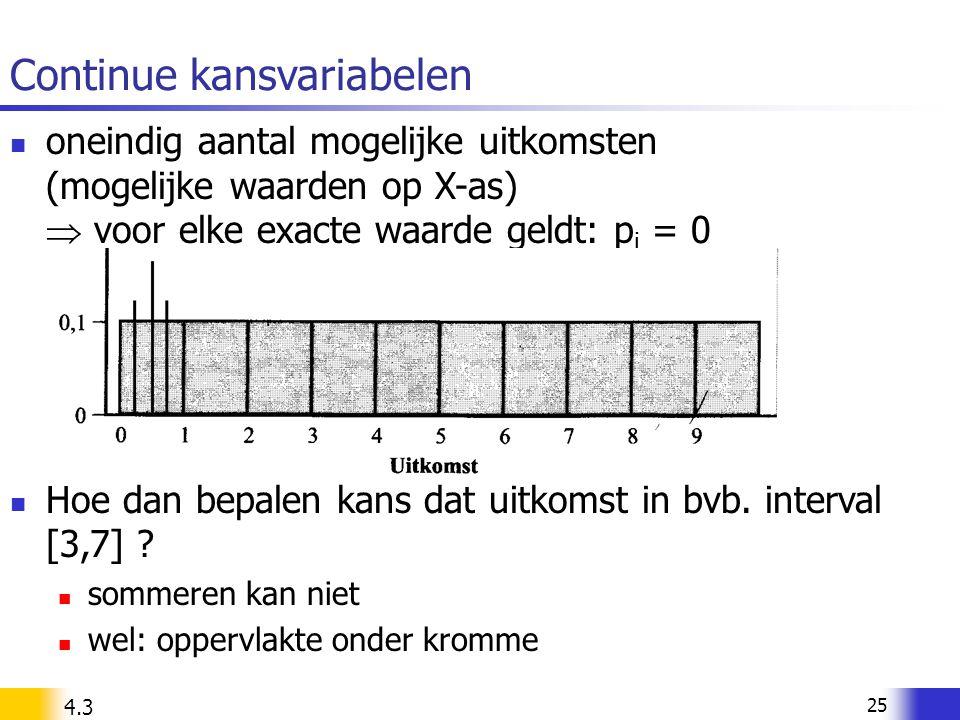 25 Continue kansvariabelen oneindig aantal mogelijke uitkomsten (mogelijke waarden op X-as)  voor elke exacte waarde geldt: p i = 0 Hoe dan bepalen k