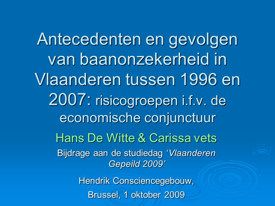 Antecedenten en gevolgen van baanonzekerheid in Vlaanderen tussen 1996 en 2007: risicogroepen i.f.v.