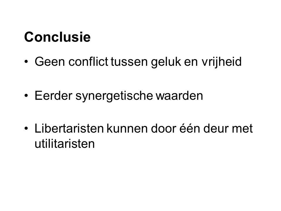 Geen conflict tussen geluk en vrijheid Eerder synergetische waarden Libertaristen kunnen door één deur met utilitaristen