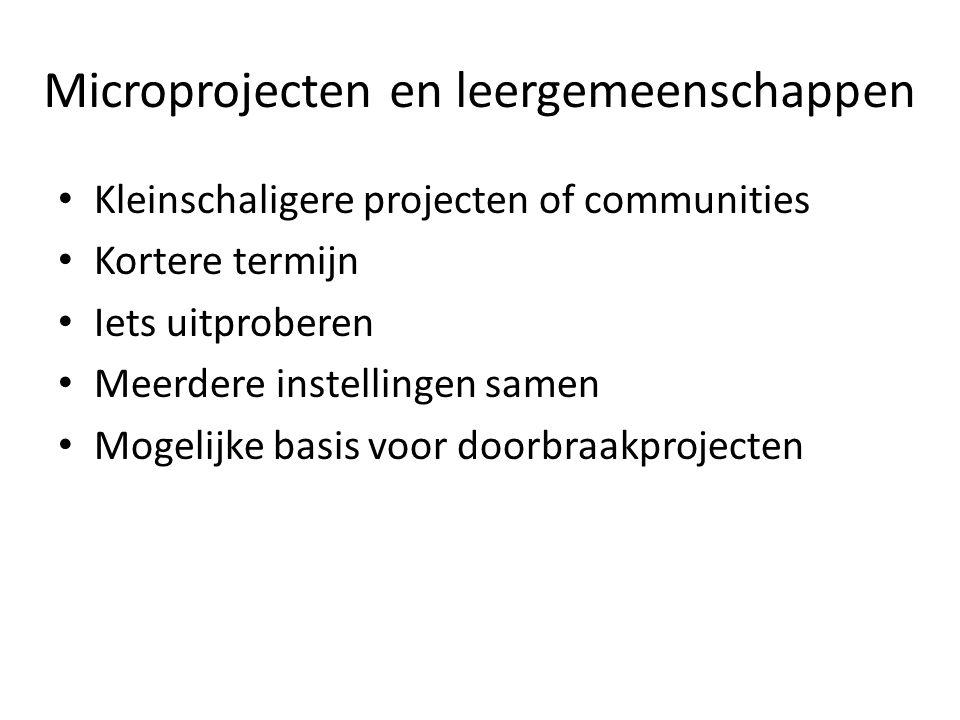Microprojecten en leergemeenschappen Kleinschaligere projecten of communities Kortere termijn Iets uitproberen Meerdere instellingen samen Mogelijke b