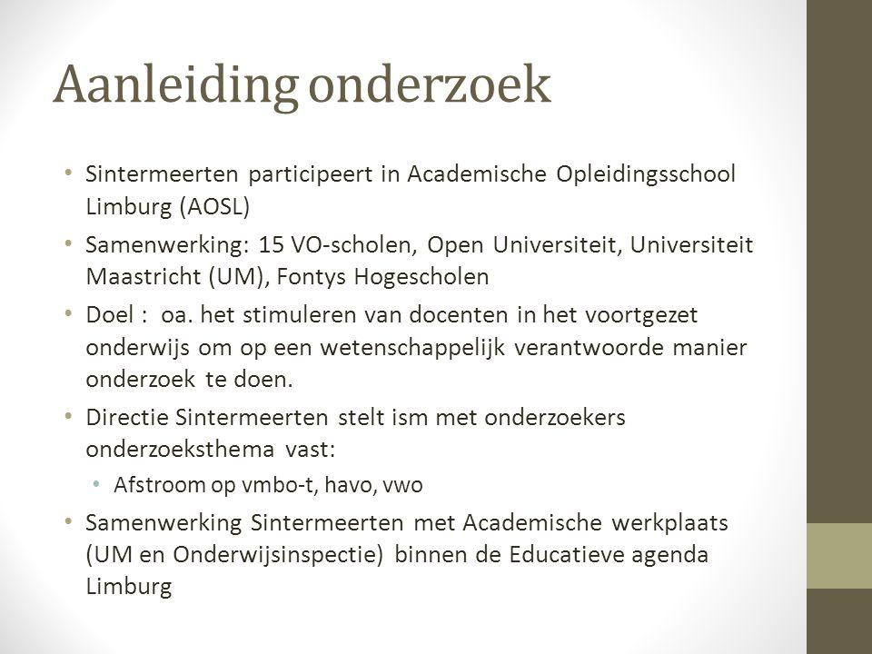Aanleiding onderzoek Sintermeerten participeert in Academische Opleidingsschool Limburg (AOSL) Samenwerking: 15 VO-scholen, Open Universiteit, Univers