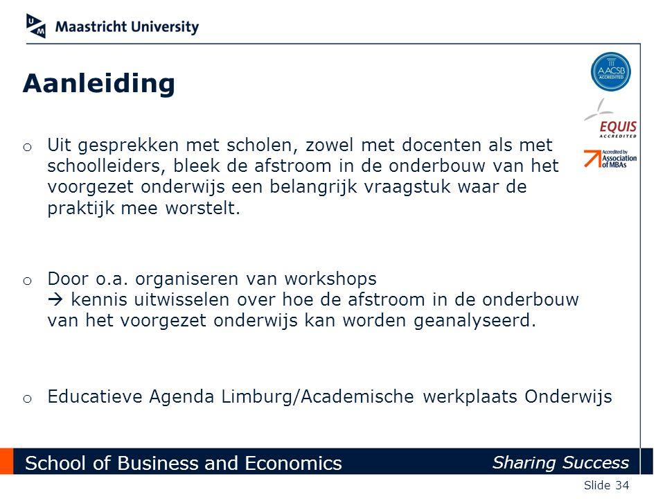 School of Business and Economics Sharing Success Slide 34 Aanleiding o Uit gesprekken met scholen, zowel met docenten als met schoolleiders, bleek de