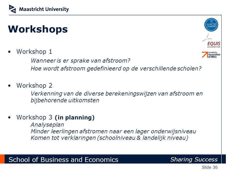 School of Business and Economics Sharing Success Slide 36 Workshops Workshop 1 Wanneer is er sprake van afstroom? Hoe wordt afstroom gedefinieerd op d