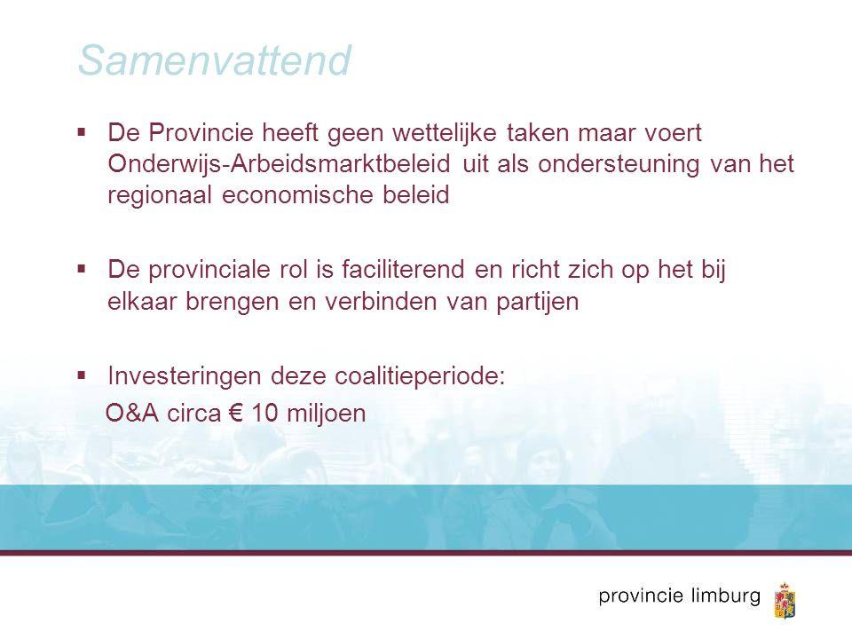 Samenvattend  De Provincie heeft geen wettelijke taken maar voert Onderwijs-Arbeidsmarktbeleid uit als ondersteuning van het regionaal economische be
