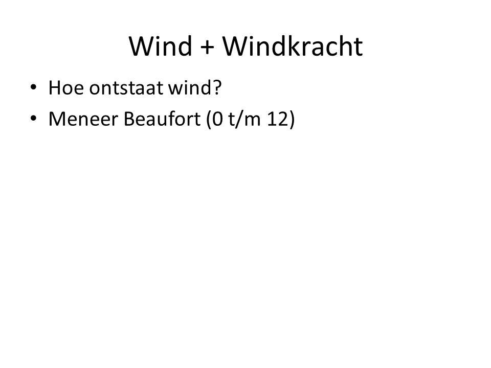 Wind + Windkracht Hoe ontstaat wind? Meneer Beaufort (0 t/m 12)