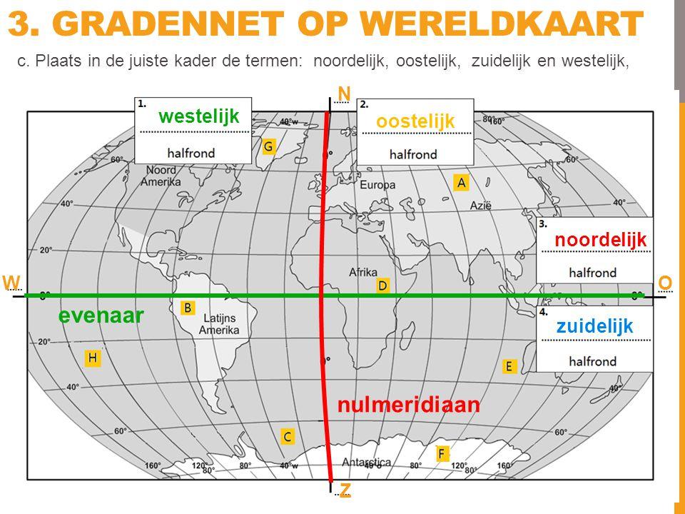 3. GRADENNET OP WERELDKAART N O Z W nulmeridiaan evenaar c. Plaats in de juiste kader de termen: noordelijk, oostelijk, zuidelijk en westelijk, westel