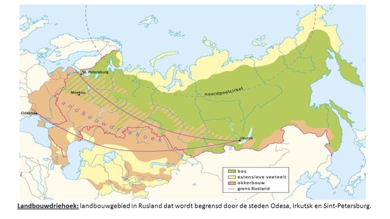 Landbouwdriehoek: landbouwgebied in Rusland dat wordt begrensd door de steden Odesa, Irkutsk en Sint-Petersburg.