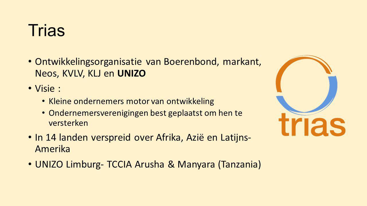Trias Ontwikkelingsorganisatie van Boerenbond, markant, Neos, KVLV, KLJ en UNIZO Visie : Kleine ondernemers motor van ontwikkeling Ondernemersverenigi